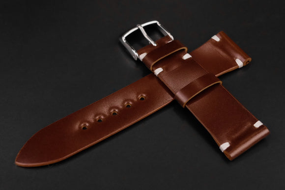 Shell Cordovan Brown Unlined Side Stitch Leather Watch Strap
