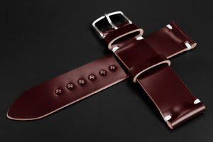 Japanese Shell Cordovan Burgundy Unlined Side Stitch Leather Watch Strap