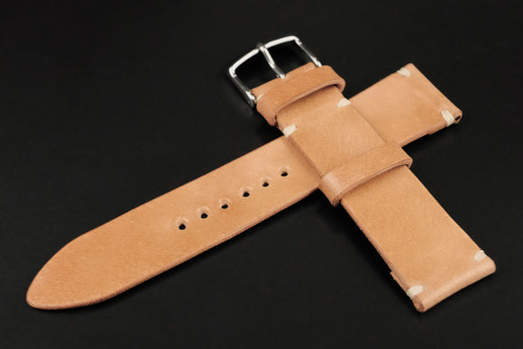 Japanese Shell Cordovan Natural Unlined Side Stitch Leather Watch Strap