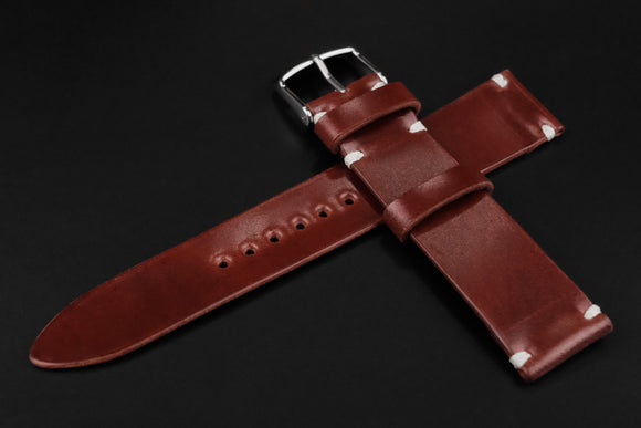 Shell Cordovan Red Unlined Side Stitch Leather Watch Strap