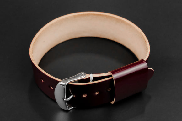 Japanese Shell Cordovan Burgundy Wide Pass Through Strap
