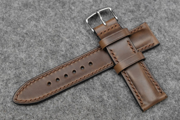 Horween Chromexcel Natural Half Padded Leather Watch Strap