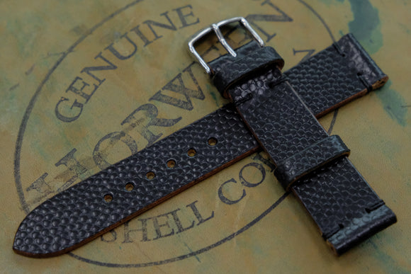 NEW: Horween Shell Cordovan Black Basketball Unlined Side Stitch Leather Watch Strap