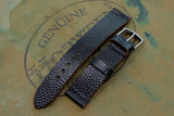 Horween Shell Cordovan Black Basketball Unlined Top Stitch Leather Watch Strap