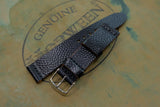 NEW: Horween Shell Cordovan Black Basketball Unlined Top Stitch Leather Watch Strap