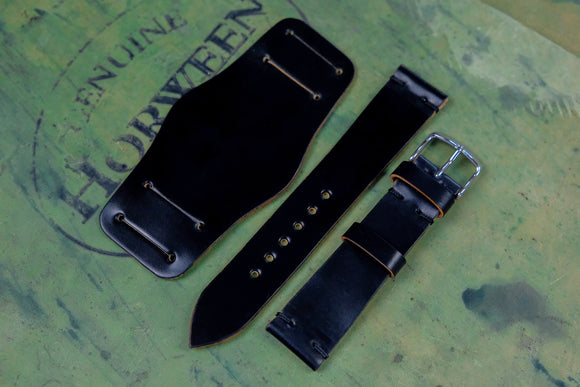 Horween Shell Cordovan Black Unlined Side Stitch Leather Bund Watch Strap