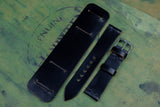 Horween Shell Cordovan Black Unlined Side Stitch Newman Bund Watch Strap