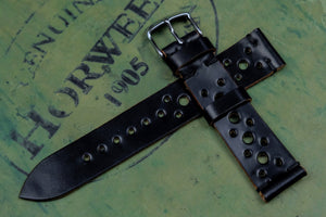 Horween Shell Cordovan Black Unlined Racing Leather Watch Strap