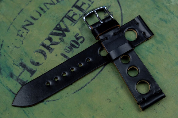 Horween Shell Cordovan Black Unlined Rally Leather Watch Strap