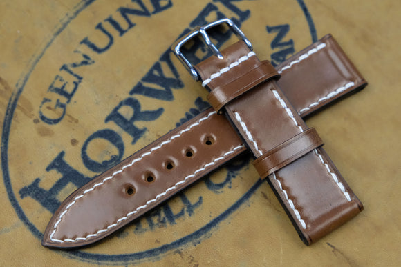 NEW: Horween Shell Cordovan Bourbon Full Stitch Leather Watch Strap