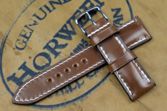 NEW: Horween Shell Cordovan Bourbon Half Padded Leather Watch Strap