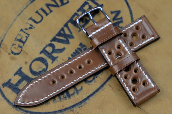 Horween Shell Cordovan Bourbon Racing Leather Watch Strap