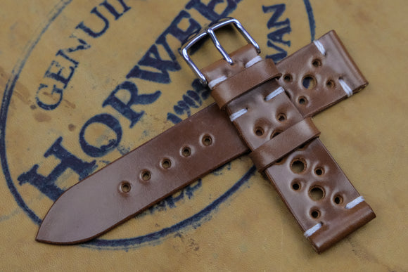 Horween Shell Cordovan Bourbon Unlined Racing Leather Watch Strap