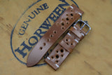 NEW: Horween Shell Cordovan Bourbon Unlined Racing Leather Watch Strap