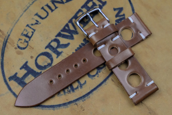Horween Shell Cordovan Bourbon Unlined Rally Leather Watch Strap