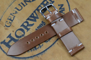 NEW: Horween Shell Cordovan Bourbon Unlined Side Stitch Leather Watch Strap