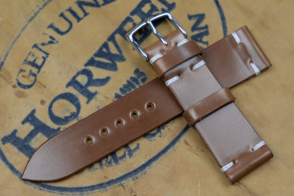 Horween Shell Cordovan Bourbon Unlined Side Stitch Leather Watch Strap
