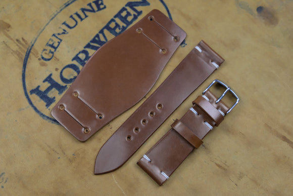 NEW: Horween Shell Cordovan Bourbon Unlined Side Stitch Leather Bund Watch Strap