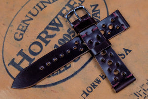 NEW: Horween Shell Cordovan Colour 8 Unlined Racing Leather Watch Strap