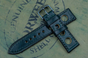Horween Shell Cordovan Dark Green Rally Leather Watch Strap
