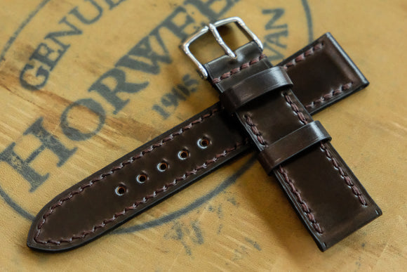 NEW: Horween Shell Cordovan Dark Cognac Full Stitch Leather Watch Strap