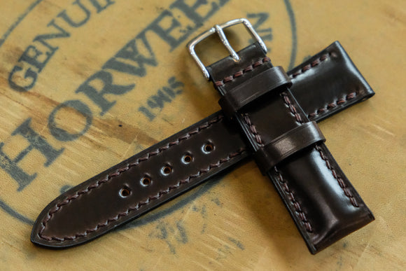 NEW: Horween Shell Cordovan Dark Cognac Half Padded Leather Watch Strap