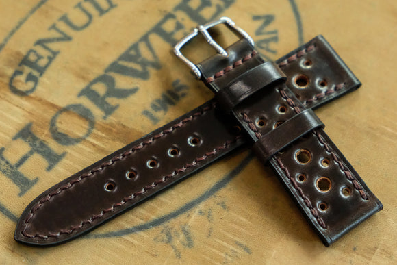 NEW: Horween Shell Cordovan Dark Cognac Racing Leather Watch Strap