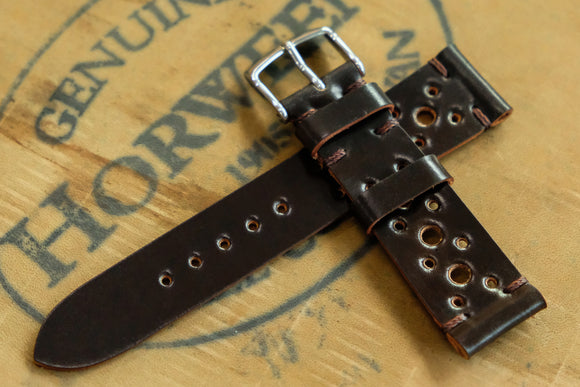 NEW: Horween Shell Cordovan Dark Cognac Unlined Racing Leather Watch Strap