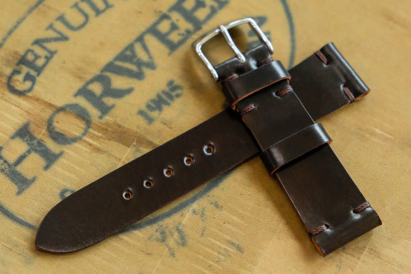 NEW: Horween Shell Cordovan Dark Cognac Unlined Side Stitch Leather Watch Strap