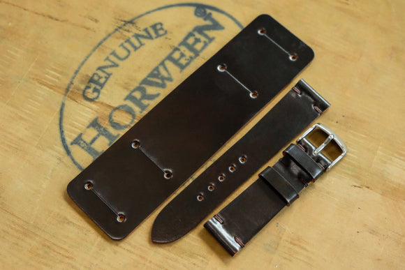 NEW: Horween Shell Cordovan Dark Cognac Unlined Side Stitch Newman Bund Watch Strap