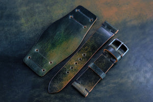 NEW: Horween Shell Cordovan Marbled Black Unlined Side Stitch Leather Bund Watch Strap