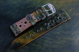 Horween Shell Cordovan Marbled Black Unlined Racing Leather Watch Strap