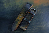 NEW: Horween Shell Cordovan Marbled Black Unlined Side Stitch Leather Watch Strap