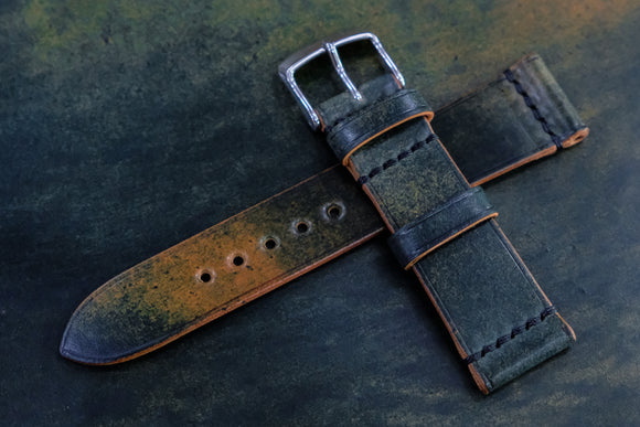NEW: Horween Shell Cordovan Marbled Black Unlined Top Stitch Leather Watch Strap
