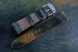 Horween Shell Cordovan Marbled Black Unlined Top Stitch Leather Watch Strap