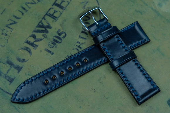 NEW: Horween Shell Cordovan Navy Full Stitch Leather Watch Strap