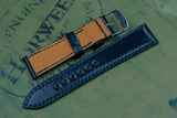 Horween Shell Cordovan Navy Full Stitch Leather Watch Strap
