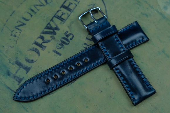 Horween Shell Cordovan Navy Half Padded Leather Watch Strap
