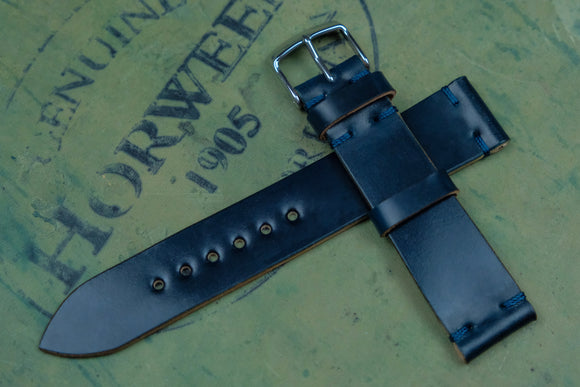 Horween Shell Cordovan Navy Unlined Side Stitch Leather Watch Strap