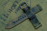 Horween Shell Cordovan Reverse Black Unlined Side Stitch Leather Watch Strap