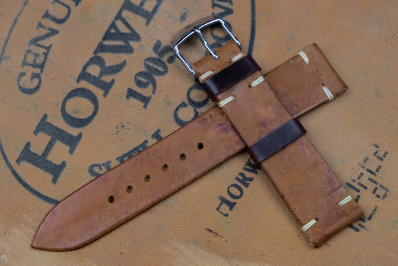 NEW: Horween Shell Cordovan Reverse Colour 8 Unlined Side Stitch Leather Watch Strap