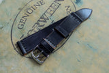 NEW: Horween Shell Cordovan Black Unlined Top Stitch Leather Watch Strap