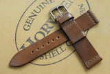 NEW: Horween Shell Cordovan Bourbon Unlined Top Stitch Leather Watch Strap