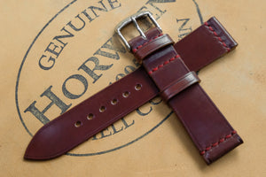 Horween Shell Cordovan Garnet Unlined Top Stitch Leather Watch Strap