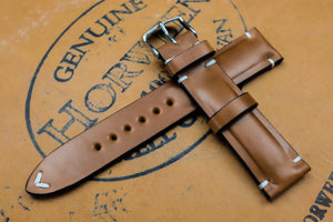 Horween Shell Cordovan Natural Half Padded Leather Watch Strap