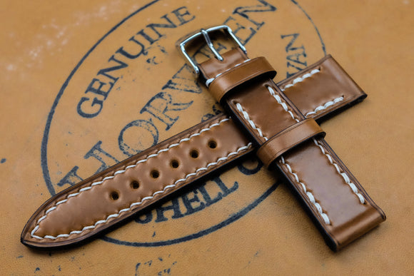 Horween Shell Cordovan Natural Full Stitch Leather Watch Strap
