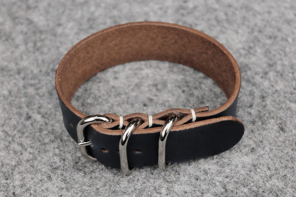 Horween Chromexcel Navy 3 Ring Pass Through Leather Strap
