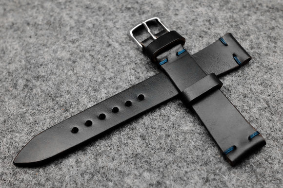 RM: Horween Chromexcel Black Unlined Leather Watch Strap (18/16)