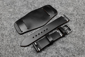Horween Chromexcel Black Unlined Side Stitch Leather Bund Watch Strap