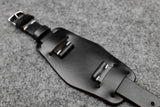 NEW: Horween Chromexcel Black Unlined Side Stitch Leather Bund Watch Strap